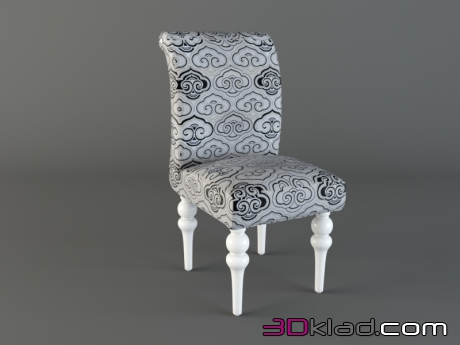 3d model Chair, white lacquer, fabric pattern Art Deco Fratelli Barri