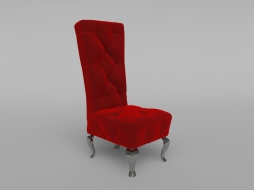Red chair trimmed with velvet decorated with stitch-Capito bretz_a140