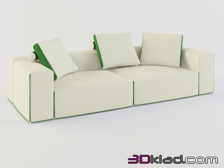 3d model light modular sofa with cushions Field download Moroso