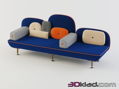 3d model three seater sofa with back pillow, the My Beautiful Backside download Moroso