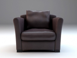 Cooper leather chair with high armrests