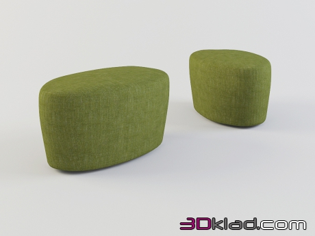 3d model oval chairs in fabric upholstery of saruyama of Islands download Moroso
