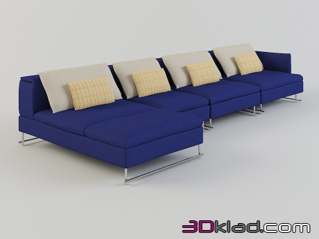 3d model corner modular sofa with metal legs upholstery fabric Shanghai Tip download Moroso