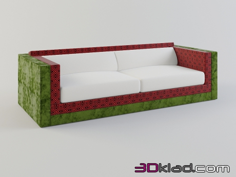 3d model bright sofa in textile upholstery Karmacoma collection of Sushi download Moroso