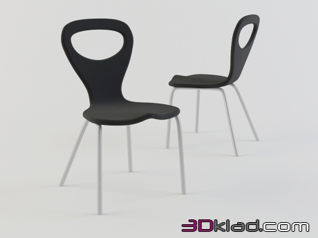 3d model chair with black metal legs TV-Chair download Moroso