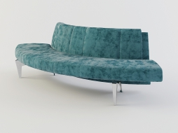 rounded sofa bench without armrests, velvety upholstery Waiting to download