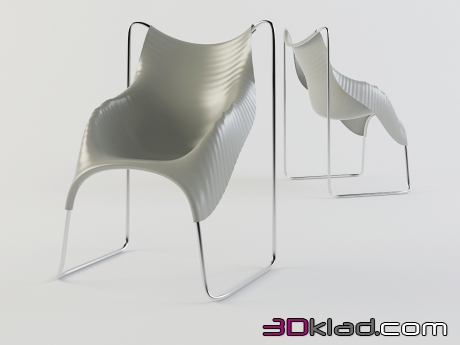 3d model a chair with a wavy surface of the Wavy download Moroso