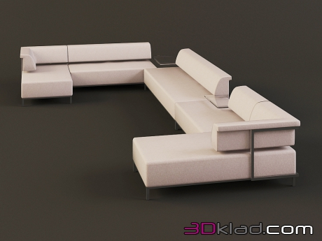 3d model modular sofa with low back collection of Borneo download Albert&Shtein