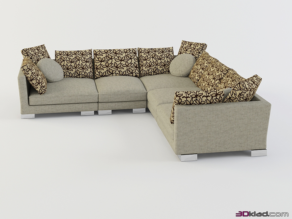 3d model low corner sofa with round cushions Tennessee download Albert&Shtein