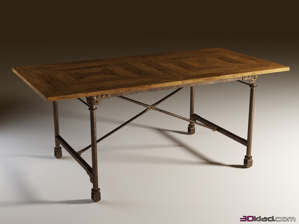 3d Model Rectangular Dining Table With Metal Legs 72