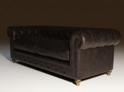 Direct sofa with leather upholstery 90'' CIGAR CLUB LEATHER SOFA