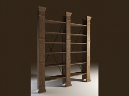 Стеллаж с резными деревянными колоннами X-CROSS DOUBLE BOOKSHELF