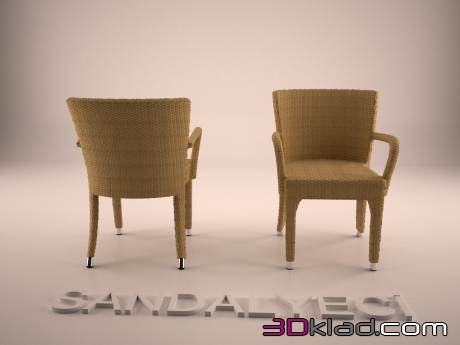 3d model rattan Armchair Jane-Honey K Sandalyeci
