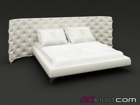 3d model white bed with headboard Capito on chrome legs Pitti Visionnaire