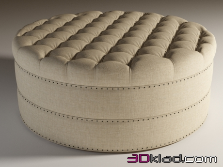 3d модель Круглая тахта в льняной обивке GRAND ROUND TUFTED OTTOMAN Curations Limited