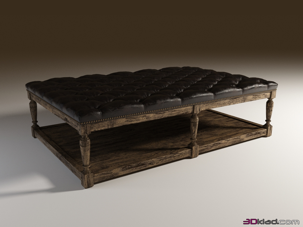 From A Quilted Ottoman Leather Tufted Leather Coffee Ottoman 3d