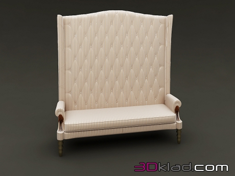 3d model two-seater sofa with high quilted back Siegfrid Visionnaire