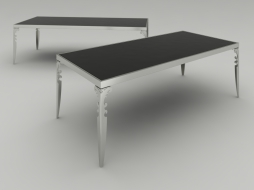 dining table with black glossy countertop Camelot
