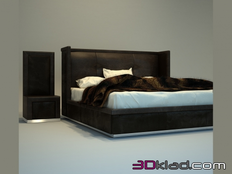 3d model Leather bed with high headboard Cilea Giovanni Sforza