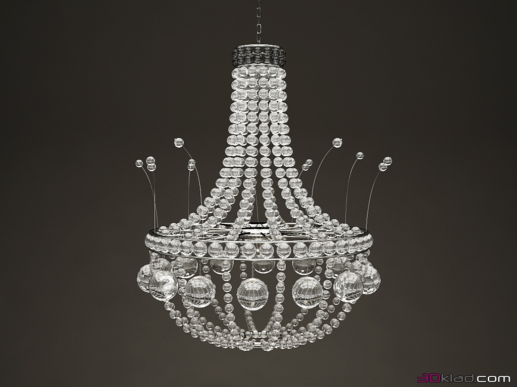 chandelier decor crystal round IDHO » 3d lighting model » 3d ...