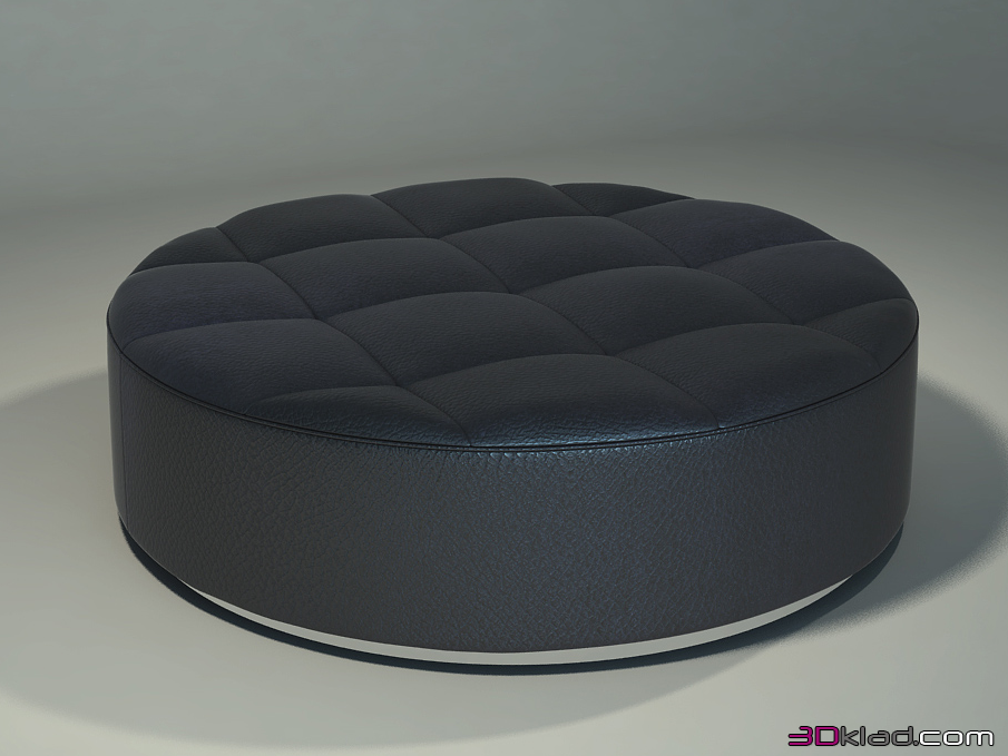 Superb 3D Model Round Leather Ottoman In Art Deco Space Giovanni Sforza Short Links Chair Design For Home Short Linksinfo