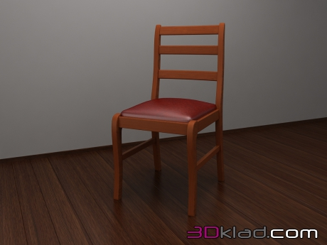 3d model dining chair with leather seat cushion Caroti