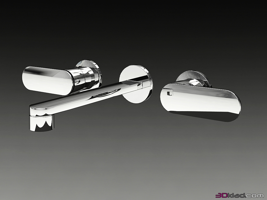 wall mounted faucet with two oval handles One » 3d models of