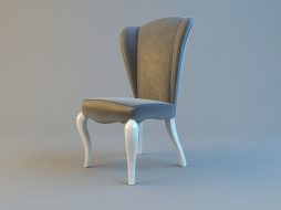 upholstered chair with lacquered legs