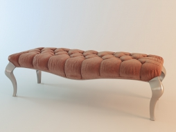 bench in quilted upholstery velour