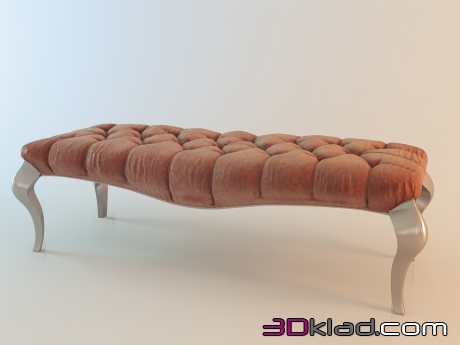 3d model bench in quilted upholstery velour Fratelli Barri