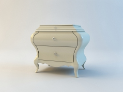 white lacquered bedside table