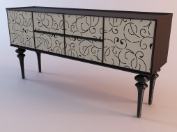 Cabinet with a decorative pattern on the doors