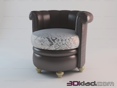 3d model round leather chair Stefany Paolo Lucchetta