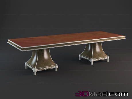 3d model dining table on two massive legs Aurora Paolo Lucchetta