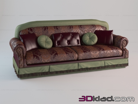 3d model classic sofa with fringe Cristal Paolo Lucchetta