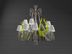Chandelier Zenith sur la Lagune with acid yellow deers