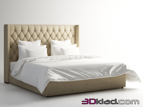 3d модель кровать MANHATTAN KING SIZE BED 201.001-F01 Gramercy home