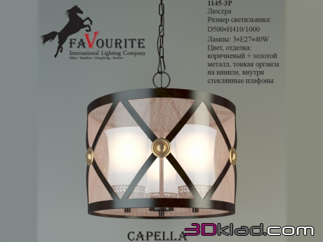 3d модель люстра Capella 1145-3P Favourite Light
