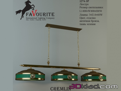 3d модель люстра Cremlin 1274-3P Favourite Light