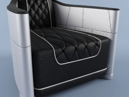 Bentley Grey Leather and Aluminium Club Chair